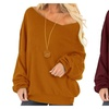 Womens Casual Solid One Shoulder Loose Sweatshirt Blouse Top