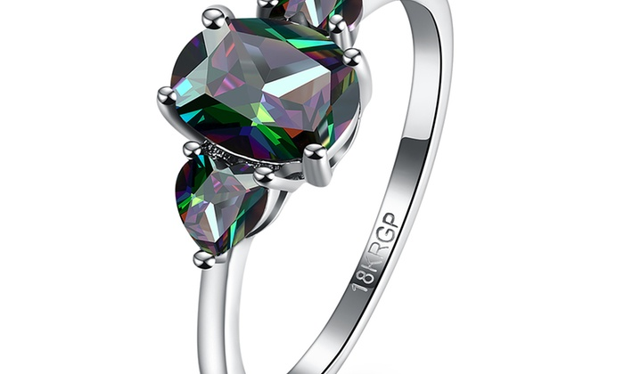 05ad260b0 18K White Gold Plated Mystic Topaz Three Stone Cocktail Ring   Groupon