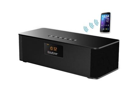 Boytone BT-87CR Portable FM Radio Alarm Clock, Wireless Bluetooth 4.1 - Black Red b2f06c31-48a7-4958-970c-ba0fce9bc318