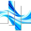 Peaceful Blue Flowing Through - Contemporary  Art - 63x32 - 4 Panels
