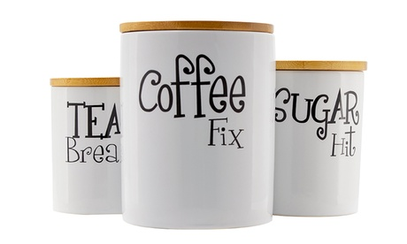 3PC Ceramic Canister Set with Bamboo Lids, Airtight Food Storage Containers
