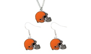 Cleveland Browns Dangle Earring and Necklace Set NFL Charm Gift