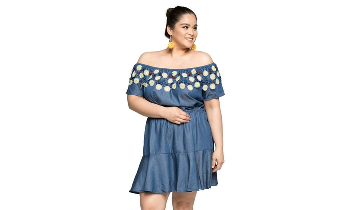ee2eece19d2c9 Xehar Women's Plus Size Off Shoulder Elastic Waist Short Summer Dress