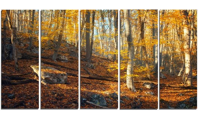 Metal Wall Art Mountain Landscapes : Crimean mountains yellow leaves landscape metal wall art