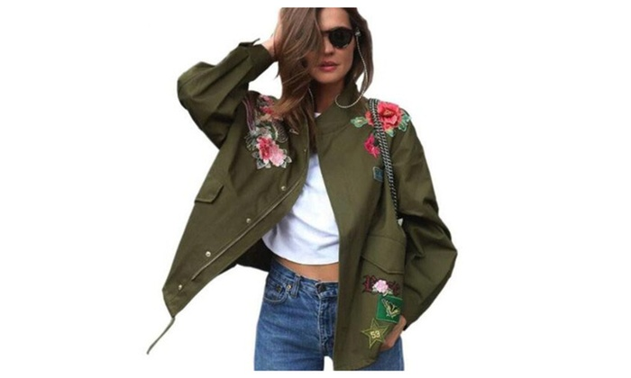 Women Basic Coats Peony floral Army Green Summer Embroidery Jacket