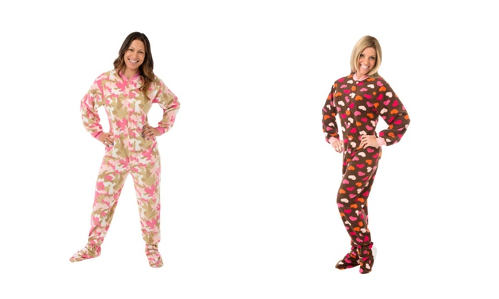 bdf50d270cb0 Fleece Footed Onesie Pajamas in Pink Camouflage or Brown with Hearts ...