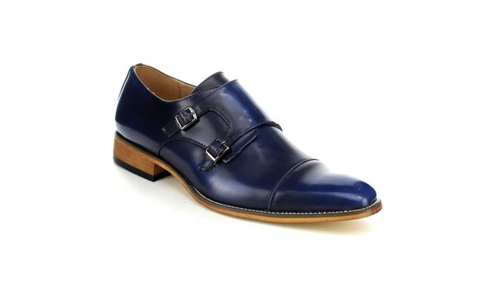 Beston EA28 Men Double Monk Strap Slip On Dress Shoes Half Size bigger