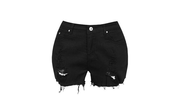 Women Sexy Ripped Jeans Denim Shorts Worn Loose Shorts Pants Groupon