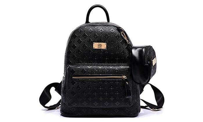 Hanxue Diamond Pattern Pu Backpack with Mini Pouch School Bag