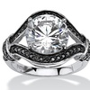 4.37 TCW Black & White Cubic Zirconia Wrap Ring in Sterling Silver