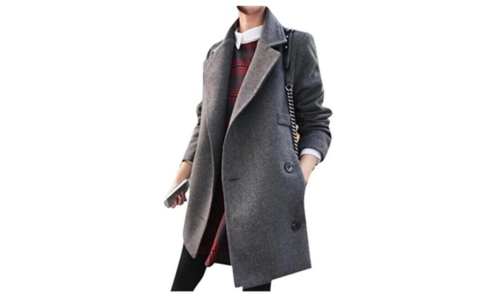 Lingswallow Women's Grey Thick Wool Slim Fit Blazer Peacoat Trench Coat Jacket