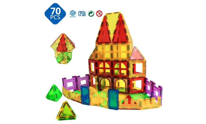 Magnetic Toys for Toddlers Kids Building Blocks-70 Pieces Magnetic Blocks