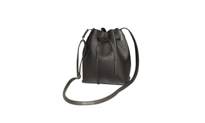 Women's PU Leather Bucket Bag Crossbody Messenger Shoulder Bag