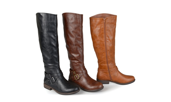 Journee Collection Womens Buckle Ankle-Strap Knee-High Riding Boots