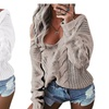 Women Sexy Off Shoulder Long Sleeve V Neck Knitted Pullover Sweater