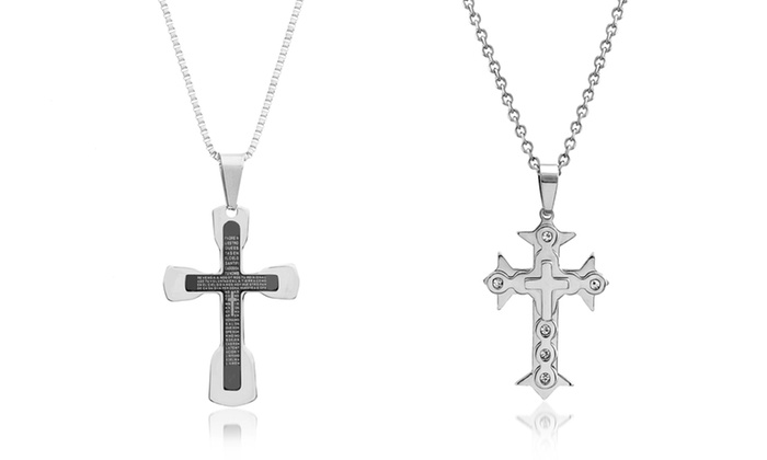 Reinforcements men 39 s stainless steel cross necklace groupon for Reinforcements stainless steel jewelry