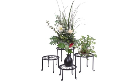 4 Pack Round Pattern Metal Potted Plant Stands Plant Holder Black Was: $39.99 Now: $17.99.
