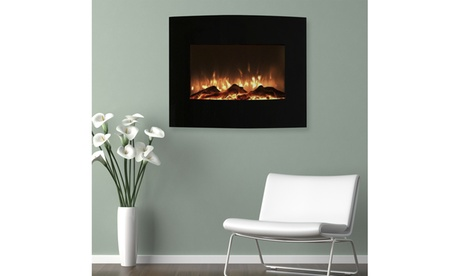 """Northwest 25"""" Mini Curved Black Fireplace with Wall and Floor Mount 9a7c6c20-5dff-4e11-baac-f382d143c027"""
