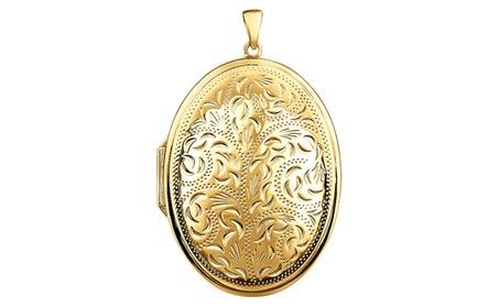 14K Yellow Gold Plated Sterling Silver Oval Locket ddead30e-fe2c-4e03-a288-5fd492028661
