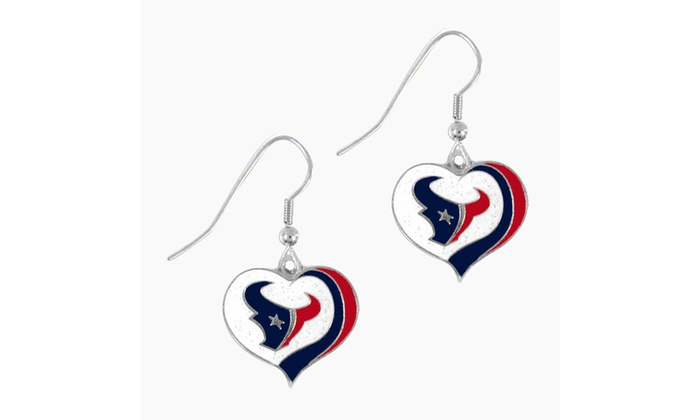 Houston Texans NFL Glitter Heart Earring Swirl Charm Set