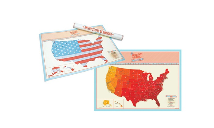 Up To 70% Off on USA Scratch Off Map | Groupon Goods