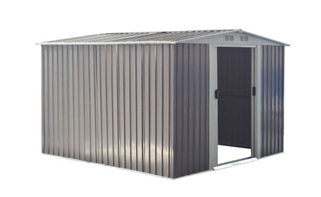 Garden Storage Shed Tool House 8.5x8.5FT Steel Sliding Door Gray 6c87ff0a-4583-46fc-8f55-cc1a704d2932