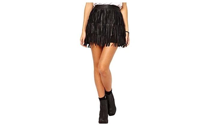 Weixinbuy Womens Fringe Tassel Faux Leather High Waist A-Line Mini Skirt