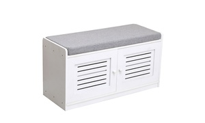 Storage Bench with Removable Seat Cushion , Storage Chest Shoe Cabinet