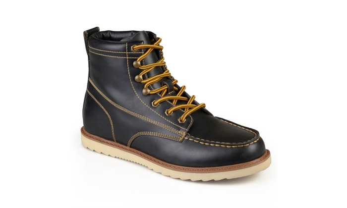 Vance Co. Mens Faux Leather Lace-up Moc Toe Work Boots