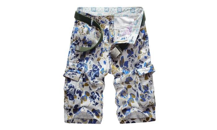 Men Loose Fit Cotton Sports Camo Print Multi-Pocket Cargo Shorts