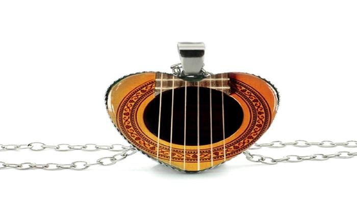 New Stylish Girls Glass Cabochon Guitar Sound Hole Pendant Necklace