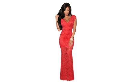 Women's Red Lace Nude Illusion Low Back Evening Dress - Red / one size 12c4bca2-d1f9-47e4-b92b-fc1cf7b1d95c