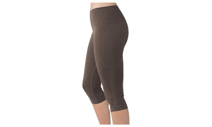 a84299c5e Lululemon In The Flow Crop Yoga Pants Heathered Bark Chocolate Brown ...