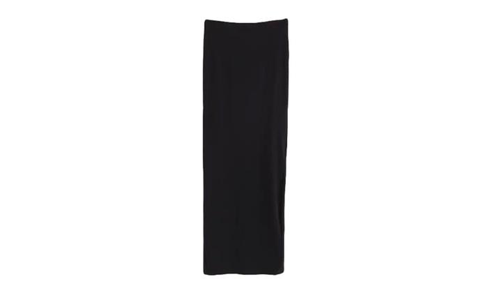 Women's HiddenZipper Solid A-Line Cotton Blend Skirts