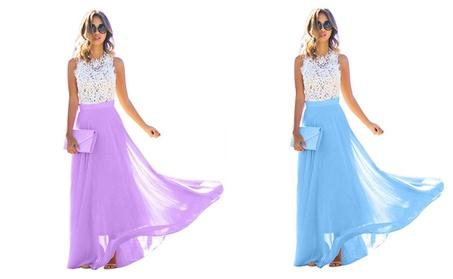 Women Maxi Dress Lace Floral Hollow Patchwork Party Slim Long Dress 15121860-6cf4-4530-aeba-4d020da8c668