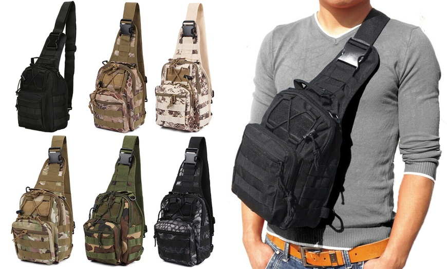 Men Molle Tactical Sling Brusttasche Rucksack Messenger Schultertasche Chest Bag