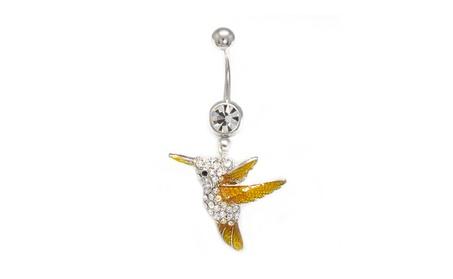 Belly Button Ring 14G Cute Dangle Cute Bird Clear CZ Gems Navel Bar 38d98ffa-82eb-4562-b5be-b601bf66b430