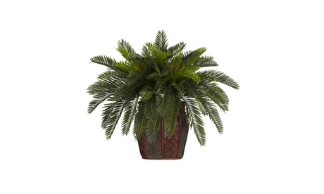 Nearly Natural Double Cycas w/Vase Silk Plant Green 331f8043-7964-4b36-8896-1cfdccf83e32