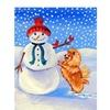 Carolines Treasures 7151GF Snowman with Pomeranian Winter Flag