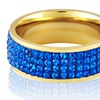 Gold Plated Stainless Steel Blue Crystal Ring