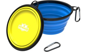 Collapsible Portable Silicone Food-and-Water Dog Bowl Set (2-Pack)