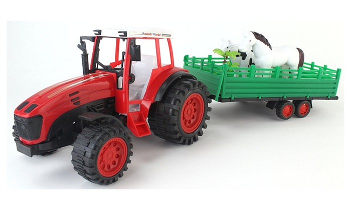 Ranch World Farm Friction Powered Red Toy Tractor Trailer Playset