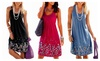 Womens Summer Casual Sleeveless Mini Printed Vest Dresses