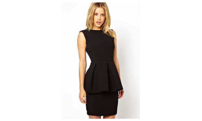 Women's Ladylike Open Back Peplum Dress