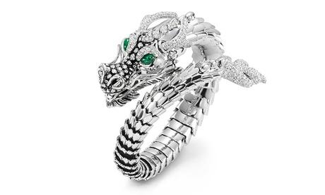 Leo Rosi 18K White Gold Plated Dragon Hip-Hop Rings Adjustable