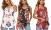 Women's Fashion Short Sleeve With Buttons Summer Print Tank T-Shirts Tops