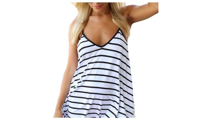 Women's Summer Casual V Neck Sleeve Stripe Dress