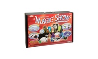"""100-Trick Spectacular Magic Show SuitcaseThe 100-Trick Spectacular Magic Show Suitcase lets children wow their audiences and amaze even themselves! Learn the great secrets of illusion from one of the most complete magic sets ever made. This set comes with a magic hat, magic wand, suitcase that doubles as a magician's table, props, the """"Secrets of 100 Magic Tricks"""" book and instructional magic trick DVD starring magician Ryan Oakes. Props include a drawer box, 3 plastic cups, 4 fuzzy balls, double-sided lollipop, x-ray color cube and lid, coin box with top, dice escape (3 parts), 3 red plastic balls, red half ball, quarter box and lid, 6 multiplying rabbits, ring, ring with false bottom, rabbit ring mat, rabbit token, spot card, number card, thumb tip, mystery card deck, crazy coin cap, flip box, 2 blue tubes, 2 clear tubes, 2 apple cans, rabbit paddle, color cube, hanky vanisher with elastic cord and double-sided tape.    For 1 player    Ages 8 and up    Made in China    Warning: Chok"""