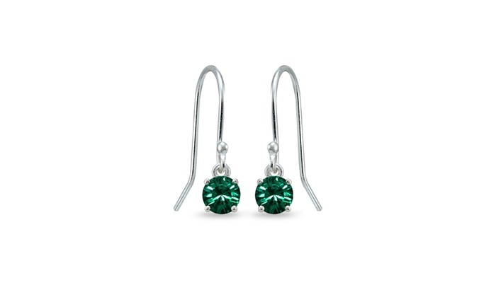 Green Dangle Earrings In 925 Sterling Silver Made With Swarovski Crystal