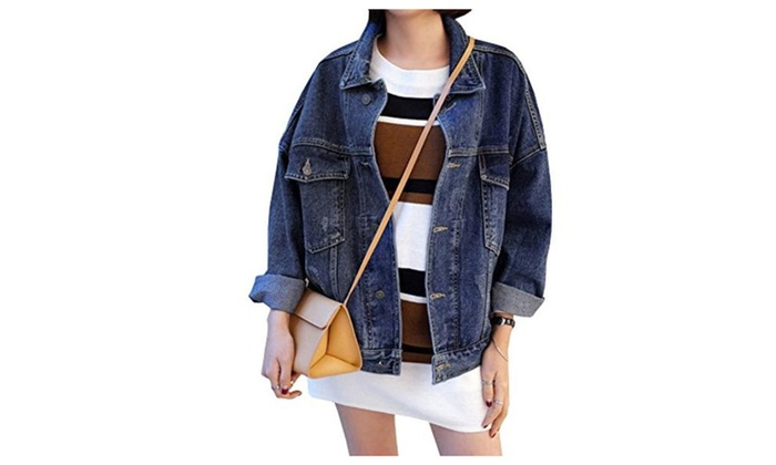 Women's Classic Trucker Jacket Outwear Demin Jeans Coat - Blue / Large